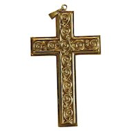 Vintage 14k yellow gold cross pendant, ca. 1980