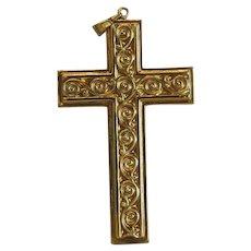 Vintage 14k yellow gold cross pendant, ca. 1980