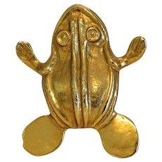 Vintage Alva Museum Replica frog brooch, mid 20th century