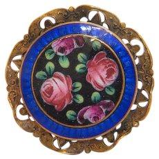 Antique Enamel brooch, gilt metal, 19th century