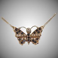 Vintage Diamond and Sapphire  necklace, 14k yellow gold, ca. 1960