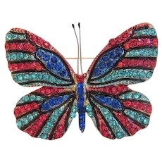 Vintage butterfly brooch with multi color glass stones and enamel,ca. 1940