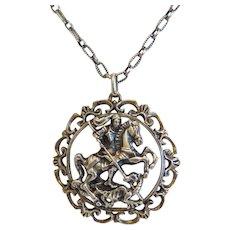 Antique St. George silver pendant, silver 835,19th century