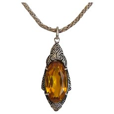 Antique Citrine silver pendant with silver chain, 19th century