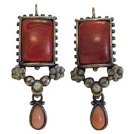 Antique  red Coral silver earrings, ca. 1900
