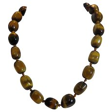 Vintage Tiger eye bead necklace, ca. 1960