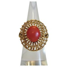 Vintage Coral ring, 14k yellow gold, ca. 1950