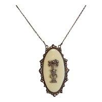 Art Nouveau white enamel pendant with Marcasites, silver 880, ca. 1900