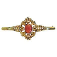Victorian Coral Cameo brooch, 14k yellow gold, 19t century