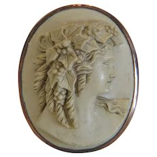 Victorian Lava Cameo brooch, 14k rose gold, 19th century