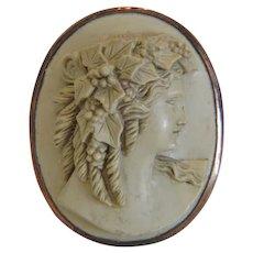 Victorian Lava Cameo brooch, 14k rose gold, 19th century