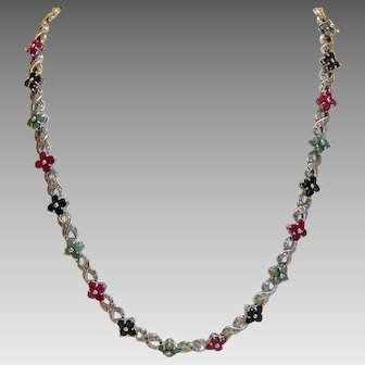 Vintage  necklace with 18 Ruby, Emerald and Sapphire flowers, silver 925, ca. 1960
