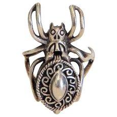 Victorian spider poison ring, silver 925, 19th century