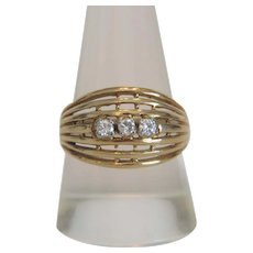 Vintage Diamond ring, 14k yellow gold, ca. 1970