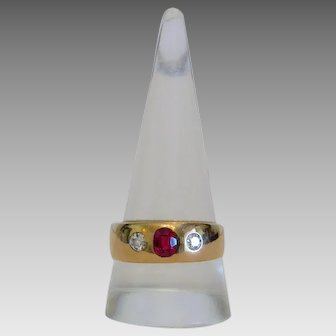 Victorian Ruby Diamond Gypsy ring, 14k yellow gold ca. 1872