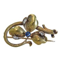 Antique flower brooch with Sapphire and Diamond, 14k yellow gold, ca.1900