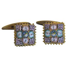 Antique Micro Mosaic  cuff links,19th century