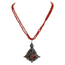 Antique Coral bead necklace with silver pendant, 19th century