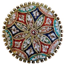 Antique Micro Mosaic brooch, silver 800, 19th century