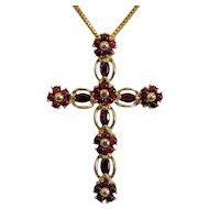 Vintage Garnet cross pendant, 14k yellow gold, ca. 1960