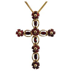 Vintage Garnet cross pendant, 14k yellow gold, ca. 1960