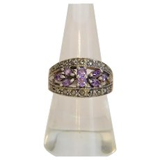 Vintage Amethyst ring with Marcasites, silver 925, mid 20th century