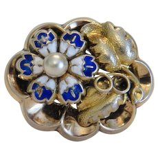 Antique blue enamel flower brooch, gilt silver, ca.1940