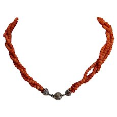 Antique Coral bead choker necklace, 19th century