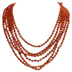 Vintage Coral bead necklace, six strands, ca. 1930