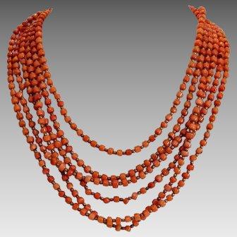 Vintage Coral bead necklace, six strands, ca. 1930