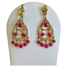 Vintage Ruby and Diamond earrings, 14k yellow gold, ca. 1960