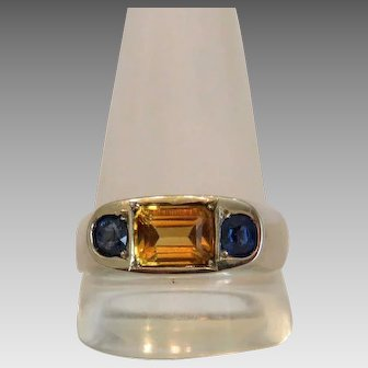 Vintage Sapphire and Citrine ring, 14k white gold, ca. 1930