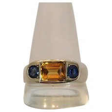 Vintage Sapphire and Citrine ring, 18k white gold, ca. 1930