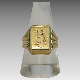 Vintage Signet ring, 14k yellow gold, 20th century
