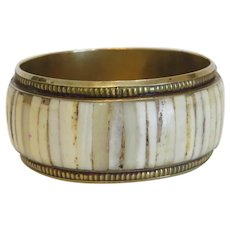 Antique horn bangle, gilt metal, 19th century