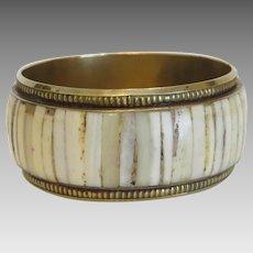Antique horn bangle, gilt metal, 19th century