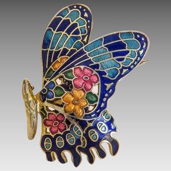 Vintage  Enamel butterfly brooch, gilt metal, ca. 1940