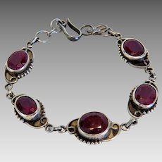 Antique Garnet silver bracelet, ca.1910