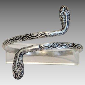 Art Nouveau silver snake bangle bracelet, ca. 1900