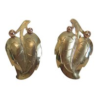 Vintage leaf ear clips, 14k yellow gold, ca. 1960
