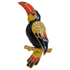 Vintage Swarovsky enamel Toucan brooch, gold plated, 20th century