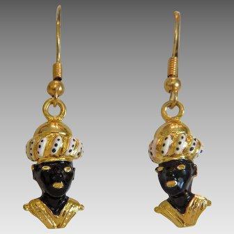 Vintage Blackamoore enamel earrings, gilt metal, ca. 1960