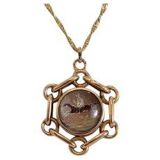 Antique reverse intaglio and compass pendant, 14k rose gold, 19th century