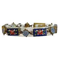 Antique Micro Mosaic flower bracelet, 19th century