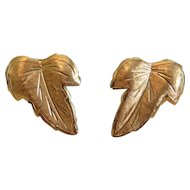 Vintage leaf ear clips, 18k yellow gold,ca. 1960