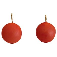 Antique red Coral earrings, 14k yellow gold, 19th century