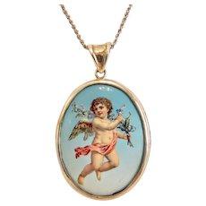 Vintage  Cherub enamel pendant, Swarovsky silver chain, ca. 1930