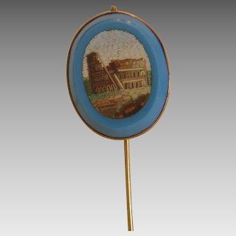 Antique Roman Micro Mosaic pin, 14k yellow gold, 19th century
