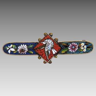 Antique Roman Micro Mosaic bird brooch, silver, 19th century