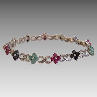 Vintage gemstone flower bracelet, silver 925,ca. 1960